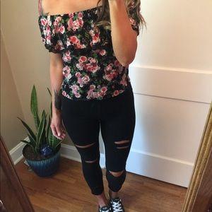 Distressed black leggings